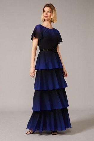 Phase Eight Black Rosalie Dip Dye Tiered Dress