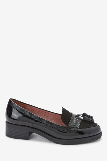 Black Material Mix Extra Wide Fit Cleated Tassel Loafers