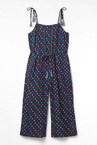 White Stuff Blue Ditsy Star Woven Jumpsuit