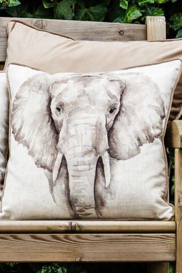 Watercolour Safari Elephant Cushion by Evans Lichfield
