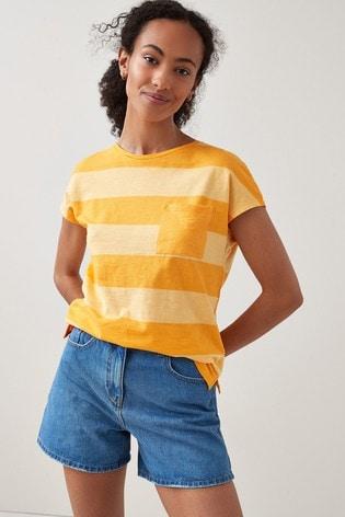 Orange Rugby Stripe Slub T-Shirt