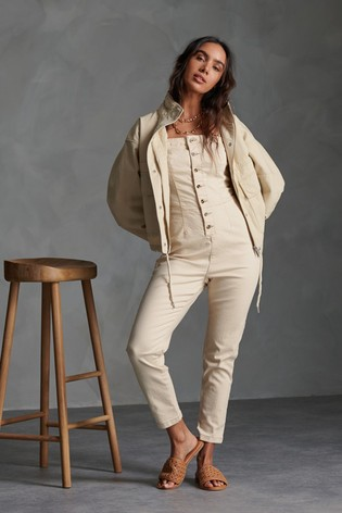 Superdry Oatmeal Button Jumpsuit