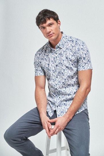 White Short Sleeve Floral Print Shirt