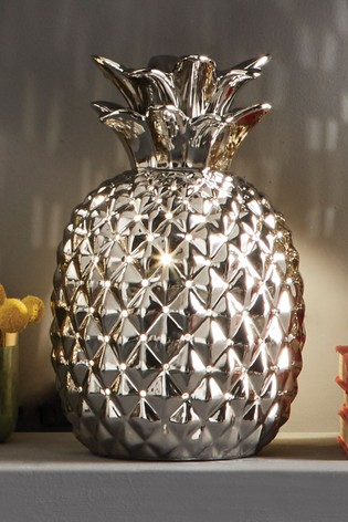 Pina Metallic Silver Ceramic Pineapple Table Lamp by Pacific