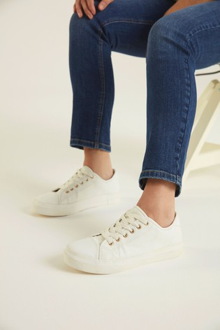 F&F White Canvas Lace-Up Shoes