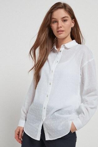 White Texture Casual Shirt