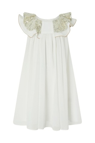 Monsoon Cream Baby Alayah Sequin Collar Dress