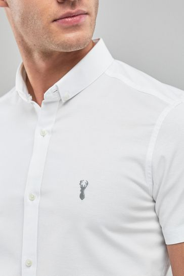 White Slim Fit Short Sleeve Stretch Oxford Shirt