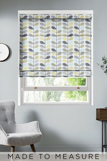 Scribble Stem Seagrass And Duck Egg Green Made To Measure Roman Blind by Orla Kiely
