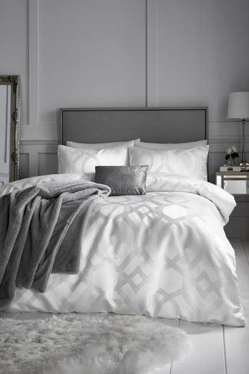 Caprice Harlow Luxury Geo Jacquard Duvet Cover and Pillowcase Set
