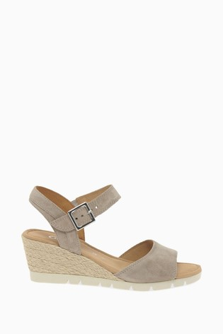 Gabor Cream Nieve Velour Suede Sandals