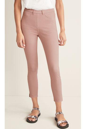 Pink/Rose Gold Stripe Jersey Cropped Leggings