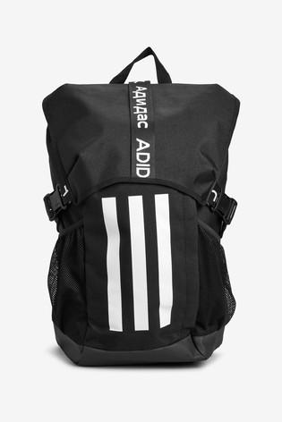 adidas Black Athletic 3 Stripe Backpack