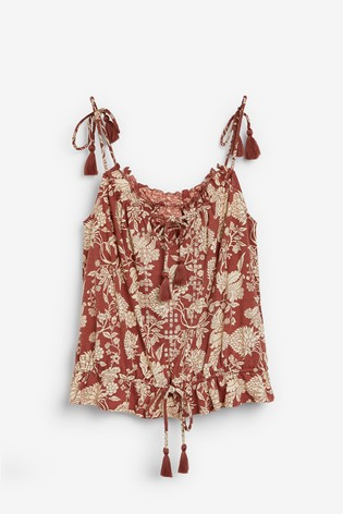 Red Paisley Print Tassel Cami Top