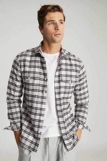 Reiss White Dashand Brushed Cotton Checked Overshirt