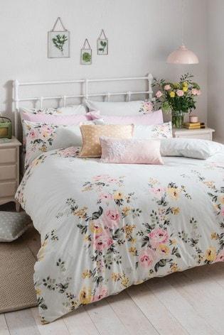 Cath Kidston® Mint Vintage Bunch Floral Cotton Duvet Cover and Pillowcase Set