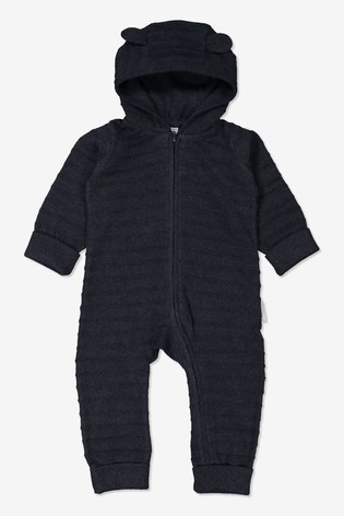 Polarn O. Pyret Blue Organic Cotton Knitted All-In-One