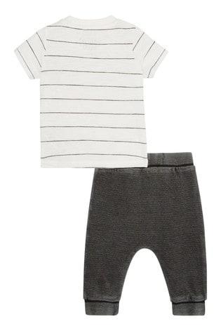 F&F Multi White Happy Stripe T-Shirt And Jogger Set