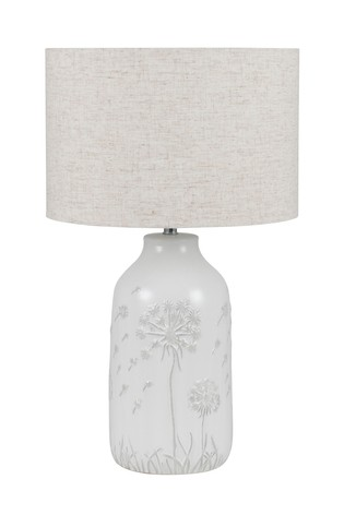 Flora White Floral Ceramic Table Lamp by Pacific