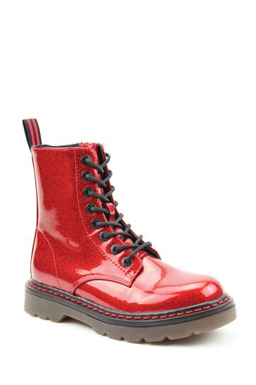 Heavenly Feet Red Ladies Lace-Up Ankle Boots