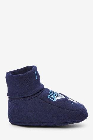Blue 2 Pack Cotton Rich Slogan Booties (0-18mths)