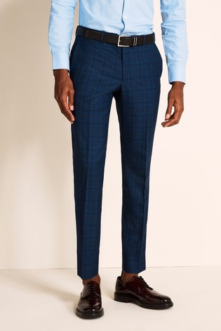 Moss 1851 Slim Fit Bright Blue Check Trousers