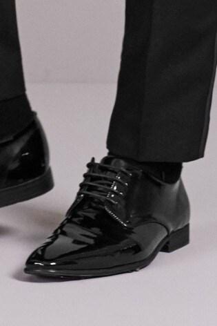 Black Hi-Shine Textured Derby Shoes