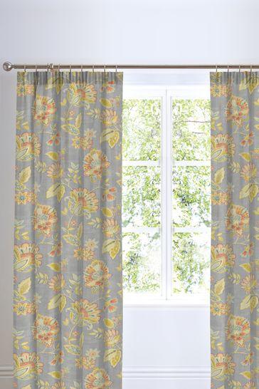 D&D White Marinelli Floral Pencil Pleat Curtains