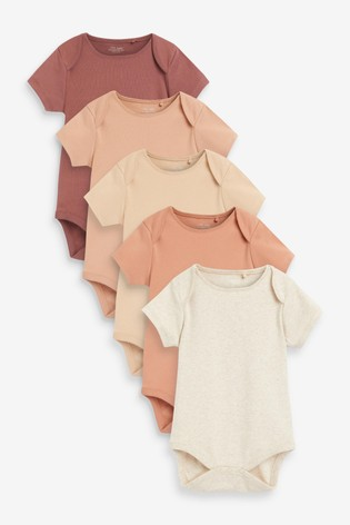 Tan 5 Pack Plain Short Sleeve Bodysuits (0mths-3yrs)