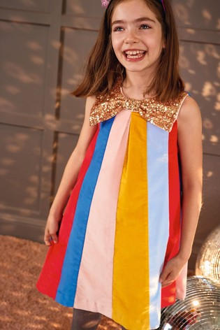 Boden Multi Sparkle Bow Rainbow Dress