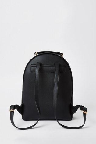 River Island Black Circle Ring Backpack