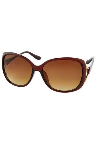Accessorize Tan Rachel Metal Detail Wrap Sunglasses