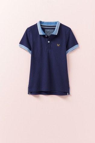 Crew Clothing Company Blue Classic Pique Polo
