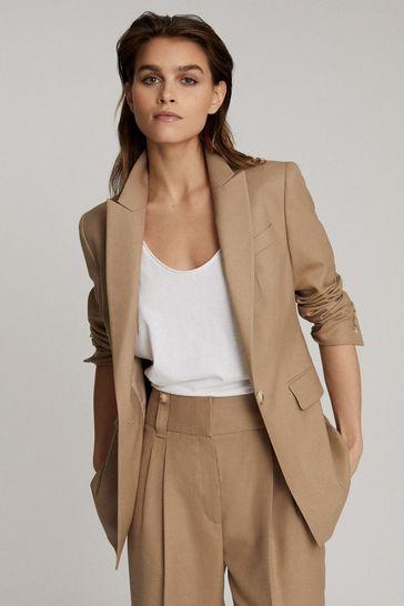 Reiss Tan Esther Wool Blend Tailored Blazer