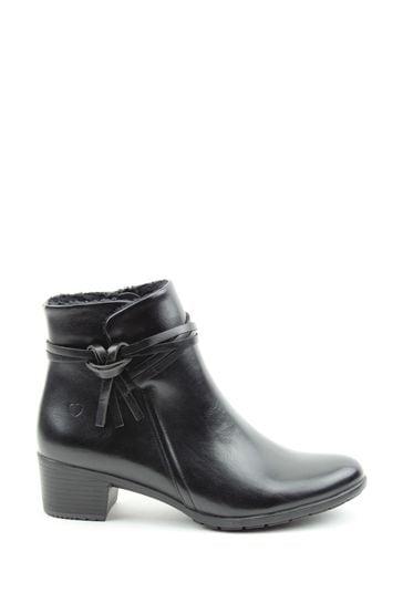 Heavenly Feet Black Ladies Low Heeled Ankle Boots