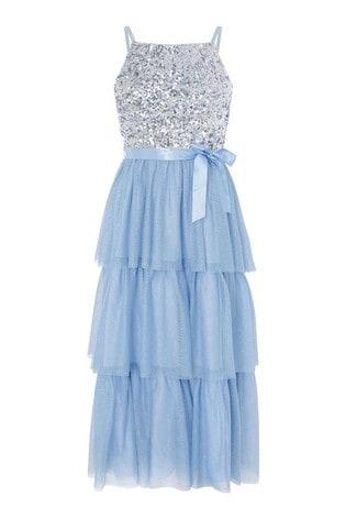 Monsoon Blue Truth Tiered Maxi Prom Dress