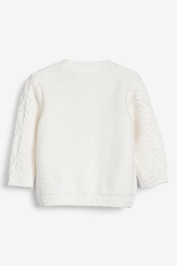 White GOTS Organic Cable Cardigan (0mths-2yrs)