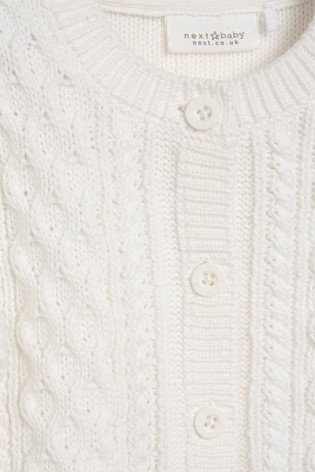 White Organic Cotton Cable Cardigan (0mths-2yrs)