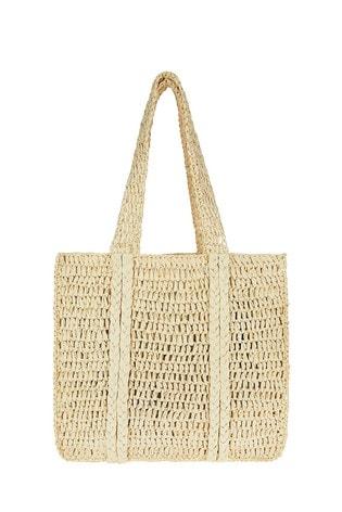 Accessorize Cream Easy Slouch Weave Shopper
