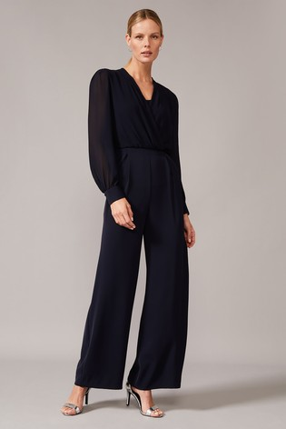 Phase Eight Blue Jass Chiffon Bodice Jumpsuit