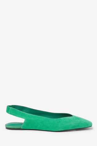 Green Suede Leather Square Toe Slingbacks
