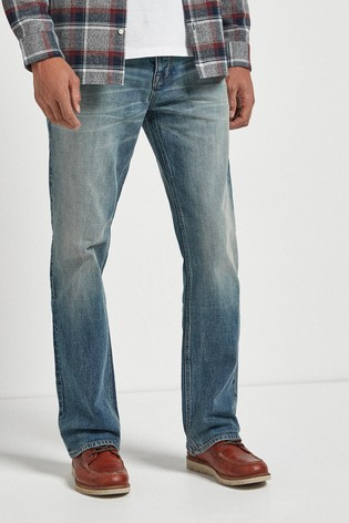 Light Vintage Wash Bootcut Fit Jeans With Stretch