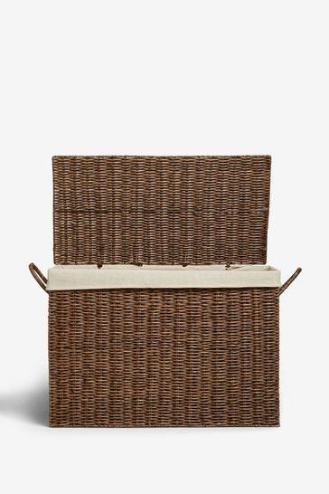 Plastic Wicker Fabric Lined Storage Ottoman