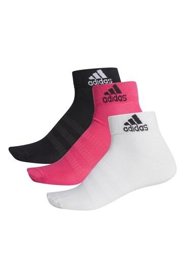 adidas Pink Multi Ankle Socks Three Pack