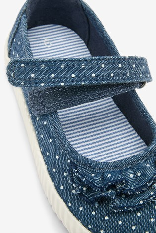 Denim Spot Canvas Mary Jane Shoes (Younger)