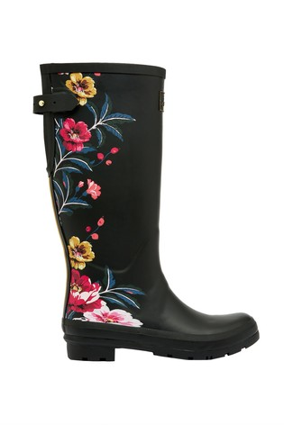 Joules Black Printed Wellies With Back Gusset