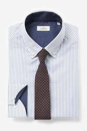 Navy/Burgundy Slim Fit Single Cuff Shirt And Tie