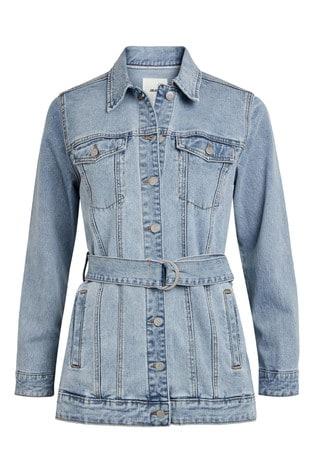 OBJECT Blue Noelle Belted Denim Jacket