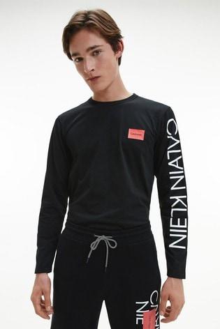 Calvin Klein Black Reversed Text Long Sleeve T-Shirt