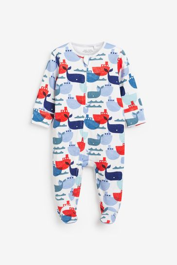 Nautical Whale 2 Pack Zip Sleepsuits (0mths-3yrs)